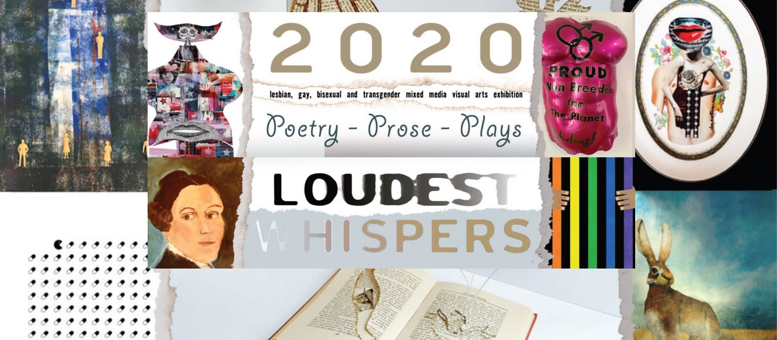 Poster of the Loudest Whispers Exhibition, featuring some of the artwork in the exhibition.