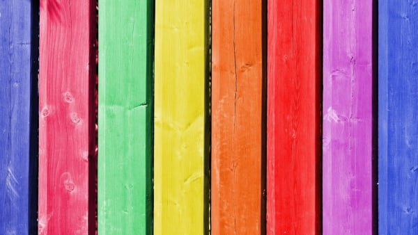 Rainbow Painted wooden planks.